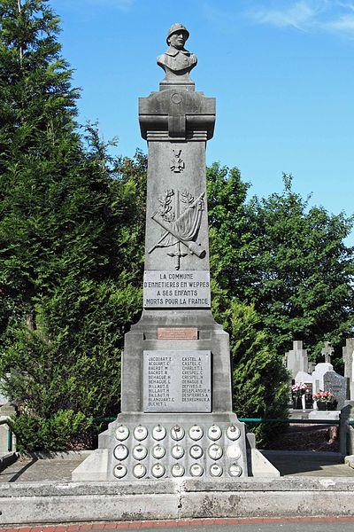 Monument aux Morts - Parvis de l'église Saint-Martin, rue du Patronage, 59 Ennetières-en-Weppes