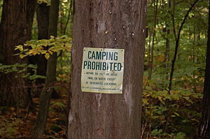 Tongue Mountain Range Trails - Camping sign on Five Mile Mt