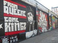 Mural of Jam Master Jay, which was among one of the first graffiti at the site