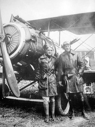 99th Aero Squadron - Capt James E. Meredith, commander next to his  Salmson 2A2 at Luxeuil-les-Bains Aerodrome, France, July 1918
