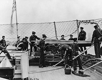 """USS Miami (1861) - A 9"""" Dahlgren smoothbore cannon on the deck of USS Miami (Photograph by Mathew Brady)"""