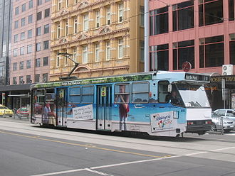 Melbourne tram route 70 - A class tram on Flinders Street in September 2006