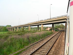 A370 road - Image: A370 Long Ashton Bypass bridge over the Great Western Main Line