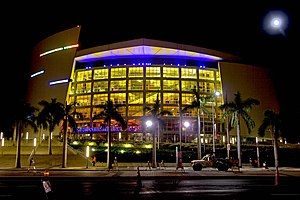 American Airlines Arena - The main façade of the arena at night