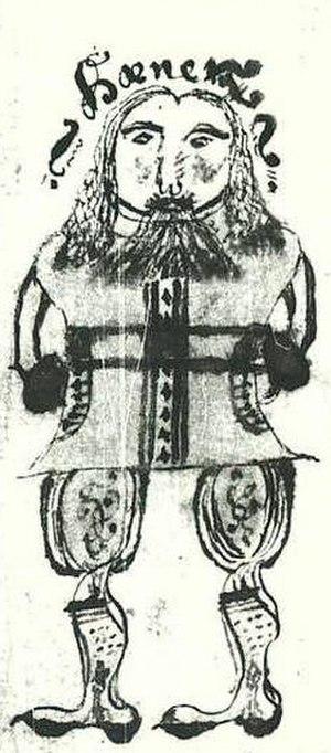 Hœnir - Hœnir in an illustration from a 17th-century Icelandic manuscript