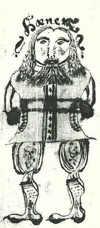 Hœnir - Hœnir in an illustration from a 17th-century Icelandic manuscript