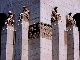 Rayner Hoff - Detail of monumental sculptures and reliefs, ANZAC War Memorial, Hyde Park, Sydney.