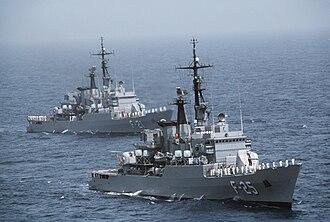Bolivarian Navy of Venezuela - Venezuelan frigates General Salóm (foreground) and Mariscal Sucre conduct maneuvers