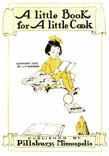 "Title page of ""A Little Book for A Little Cook"" showing, between the title in and the publisher's credit, a colour drawing of a little girl wearing a yellow dress and a yellow bow in her hair, sitting down and reading a pamphlet with other books scattered at her feet."