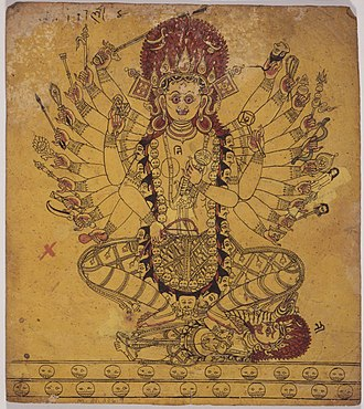Tantras (Hinduism) - A tantric form of the Hindu Goddess Kali. Folio from a book of Iconography, Nepal, 17th century.