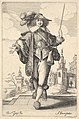 A gentleman walking forward, with his right arm outstretched and a whip in his left hand, wearing a plumed hat and decorated shoes MET DP829198.jpg