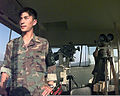 A member of the ROK (Republic of Korea) Army keeps a watchful eye on North Korea from Observation Post (OP) oullette located in the Demilitarized Zone 981008-F-CP197-503.jpg