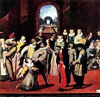 "Harlequin - A scene from the commedia dell'arte played in France before a noble audience in 1571 or 1572 (Museum of Bayeux). Pantalone is front and center, while just to the right and slightly behind is Harlequin in motley costume, ""the oldest known version of Harlequin's costume."""