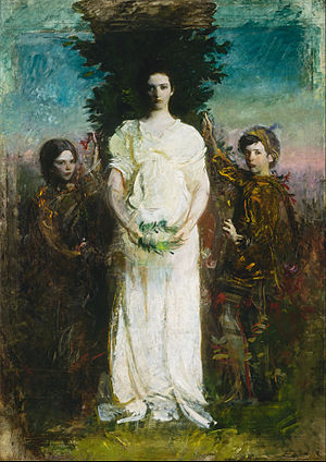 Gladys Thayer - My Children (Mary, Gerald, and Gladys Thayer), circa 1897, oil on canvas by Abbott Handerson Thayer