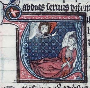 French manuscript illumination of the prophet Obadiah