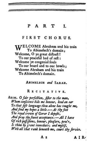 Abimelech (oratorio) - First page of Abimelech libretto