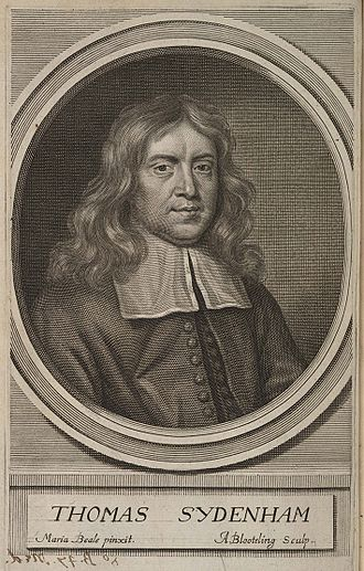 Thomas Sydenham - Engraving by Abraham Blooteling after the Mary Beale portrait; published as the frontispiece in a later edition of his Observationes medicinae