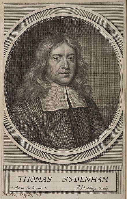 Engraving by Abraham Blooteling after the Mary Beale portrait; published as the frontispiece in a later edition of his Observationes medicinae Abraham Blooteling after Mary Beale - portrait of Thomas Sydenham 8-B-47-Med.jpg