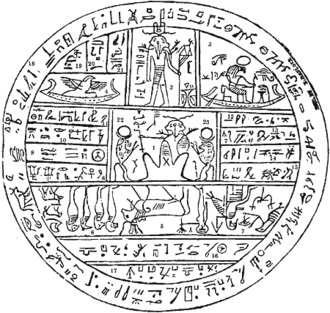 """Kolob - Facsimile No. 2 from the Book of Abraham, which Smith said discusses Kolob. The part Smith said refers to Kolob is numbered by a """"1"""" in the center."""