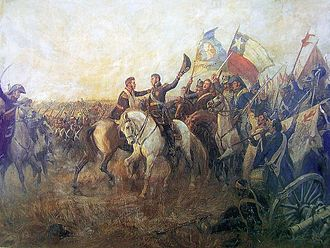 Argentina–Chile relations - El abrazo de Maipú (English: The embrace of Maipú) between the independence heroes José de San Martín and Bernardo O'Higgins after the defeat of royalists in the Battle of Maipú
