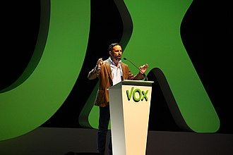 Santiago Abascal - Abascal giving a speech in 2018 in Vistalegre.