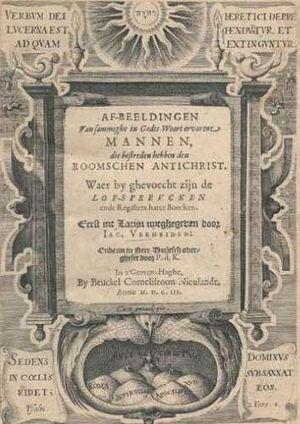 Jacobus Verheiden - Title page from Af-beeldingen van sommighe in Godts-Woort ervarene mannen (1603), the Dutch translation of Praestantium aliquot theologorum (1602) by Verheiden.