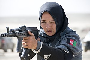 Afghan National Police woman qualifies on the AK-47 rifle during a tactical training program.jpg
