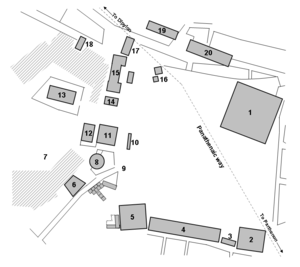 Plan showing major buildings and structures of the agora of Athens as it was in the 5th century BC
