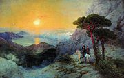Aivazovsky - Pushkin at Ai-Petri peak during sunrise.jpg