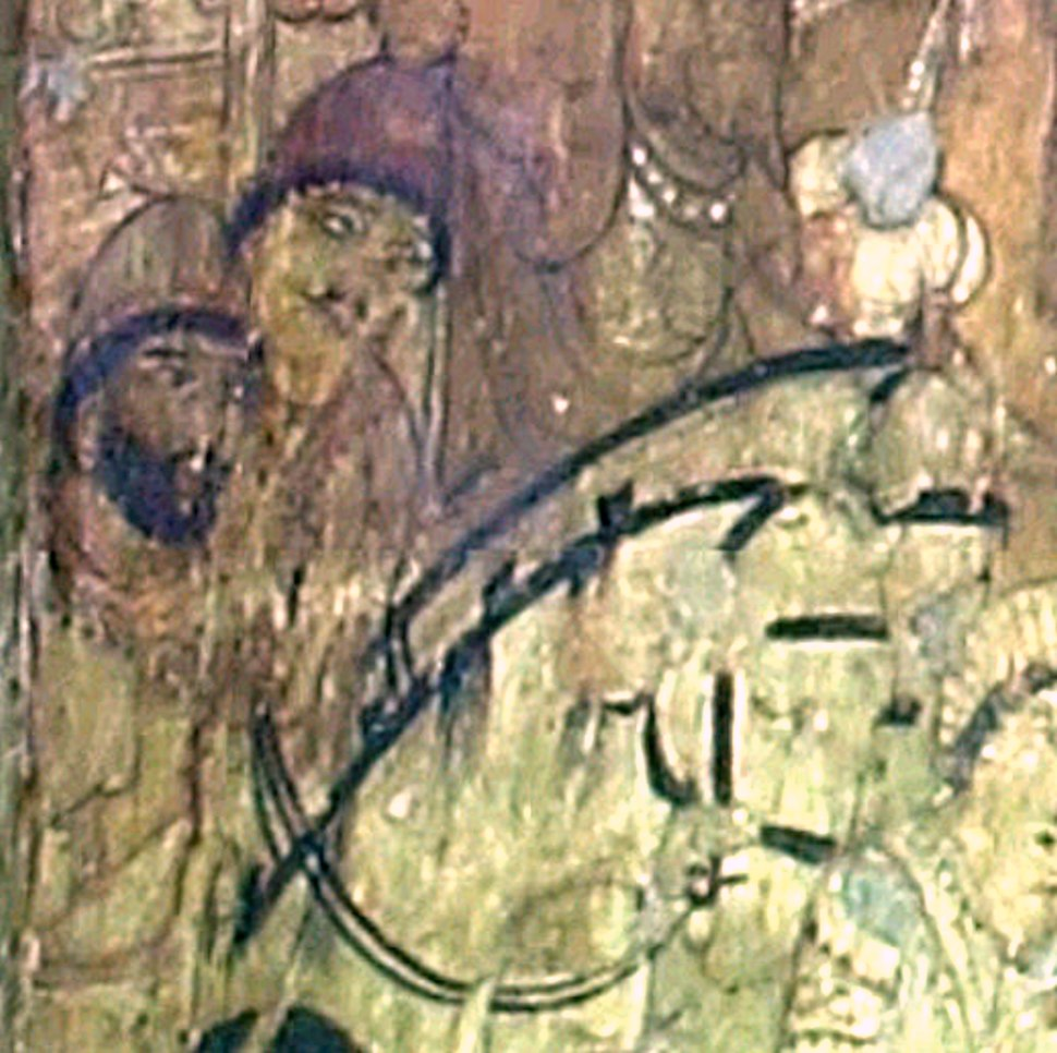Ajanta Cave 17 frescoe detail with two foreigners on horse