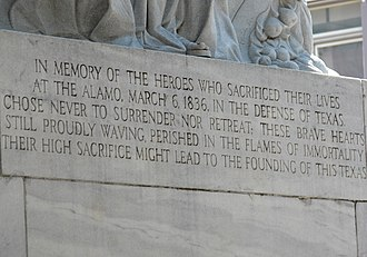Alamo Cenotaph - A close up of the inscription on the Alamo Cenotaph
