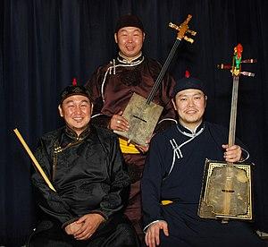 Alash Ensemble - Left to right: Ayan Shirizhik, Bady-Dorzhu Ondar, Ayan-ool Sam