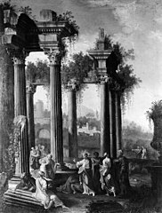 Christ Blessing Little Children among Classical Ruins
