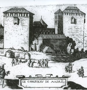 Royal Alcazar of Madrid - Image 2. Drawing of the old Alcázar by J. Cornelius Vermeyen. The image is dated at around 1534, before the extension commissioned by Charles V in 1537 - the first important work to the building. It is likely that this was the appearance of the Muslim castle, whose structure was the basis of the royal palace developed by the emperor.