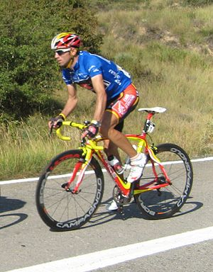 Alejandro Valverde - Valverde at the 2008 Vuelta a España, wearing the blue jersey of points classification leader.
