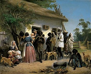 German Australians - Alexander Schramm's A Scene in South Australia (1850) depicts German settlers with Aborigines