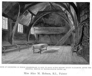 Leicester Guildhall - Image: Alice Mary Hobson Room at Leicester in which Shakespeare is said to have Acted before Queen Elizabeth