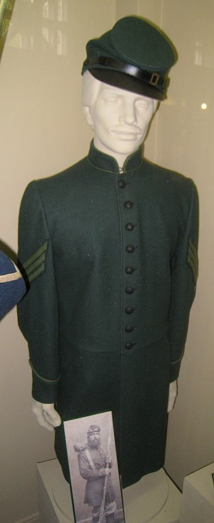 Uniform of the Union Army - Rifle green sharpshooter's uniform, with McDowell pattern kepi.