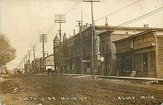 National Register of Historic Places listings in Gratiot County, Michigan - Image: Alma MI South side Superior St 1913