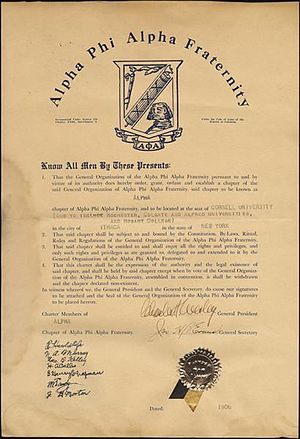Alpha Phi Alpha - The 1906 charter for ΑΦΑ's Alpha chapter at Cornell University
