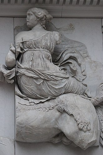 Selene - Selene riding horseback,  detail from the Pergamon Altar