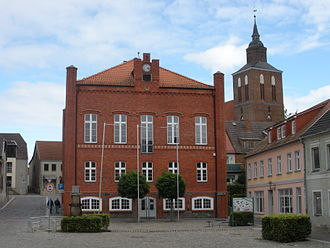 Altentreptow - Town hall at market square, Protestant church of St. Petri
