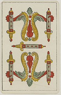 Aluette card deck - Grimaud - 1858-1890 - Five of Swords.jpg