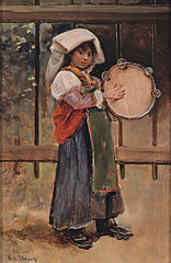Italian girl with tamborine