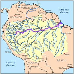Map showing the Amazon drainage basin with the Amazon River highlighted