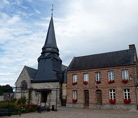 The church and town hall in Ambrumesnil