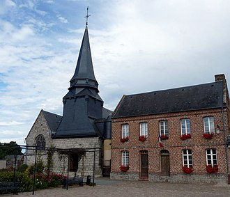 Ambrumesnil - The church and town hall in Ambrumesnil