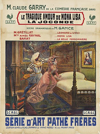 Abel Gance - Poster by Cândido de Faria for the silent film Le tragique amour de Mona Lisa (1912) written by Gance. Collection EYE Film Institute Netherlands.