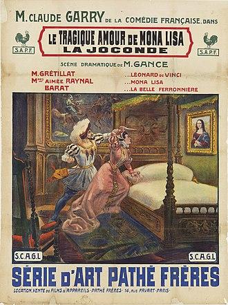 Abel Gance - Poster by Cândido de Faria for the silent film Le tragique amour de Mona Lisa (1912) written by Gance. Collection EYE Film Institute Netherlands.
