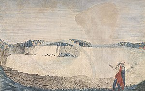 Niagara Falls - Thomas Davies, An East View of the Great Cataract of Niagara, 1762